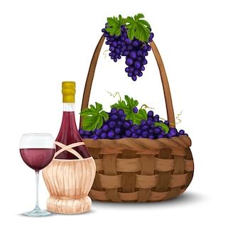 Uva de vino y cesta de vino