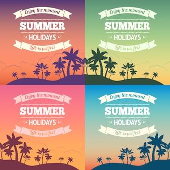 Vacaciones de verano vacaciones viajes fondo cartel con puesta de sol y palmeras ilustración vectorial