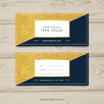Vales de regalo azules y dorados