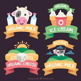 Varias pegatinas decorativas con productos lácteos