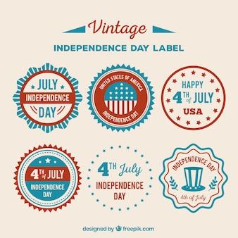 Varias pegatinas retro del día de la independencia americana
