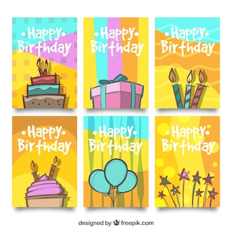 Varias tarjetas de cumpleaños dibujadas a mano