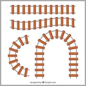Varias vías de tren con diferentes formas