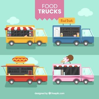 Variedad adorable de food trucks