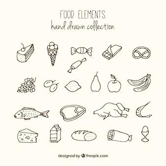 Variedad de alimentos dibujados a mano
