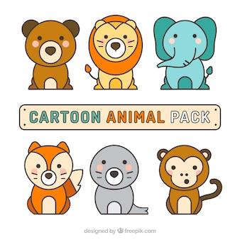 Variedad de animales con estilo de dibujo animado