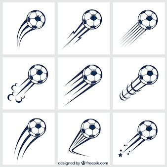 Variedad de balones de fútbol