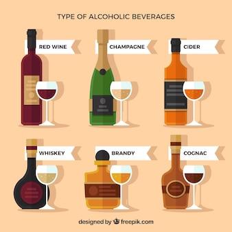 Variedad de bebidas alcoholicas en diseño plano con copas de vino