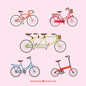Variedad de bonitas bicicletas en diseño plano