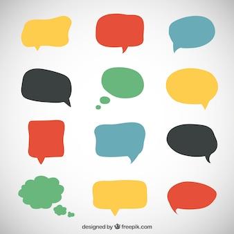 Variedad de burbujas coloridas del discurso