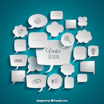 Variedad de burbujas de diálogo de negocios