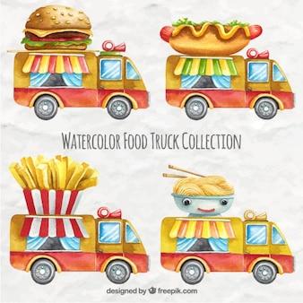Variedad de camionetas de comida de acuarela
