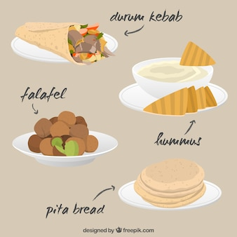 Variedad de comida árabe sabrosa