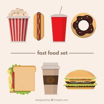 Variedad de comida rápida en diseño plano
