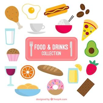 Variedad de comida y bebidas en diseño plano