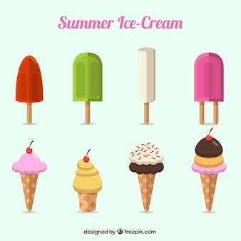 Variedad de deliciosos helados en diseño plano