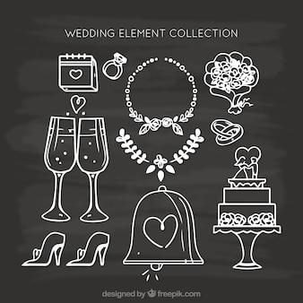 Variedad de elementos de boda dibujados a mano