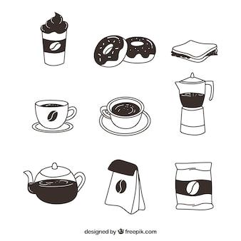 Variedad de elementos de cafetería dibujados a mano