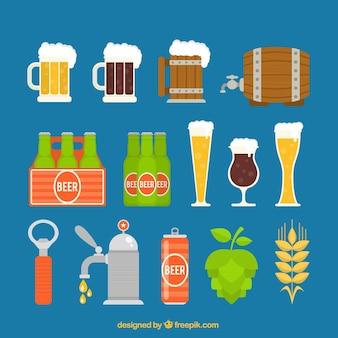 variedad de elementos de cerveza
