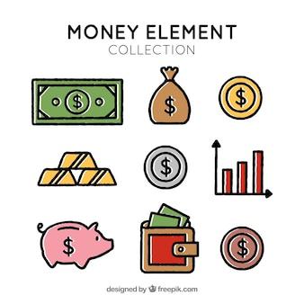Variedad de elementos de dinero