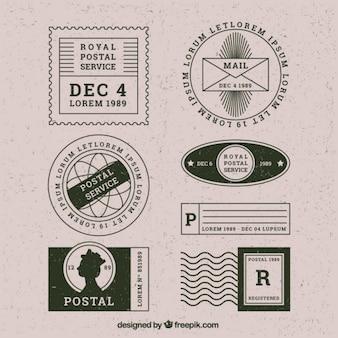 Variedad de estampas vintage de servicio postal