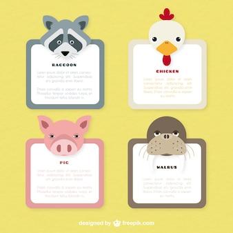 Variedad de etiquetas de animales