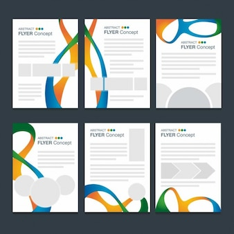 Variedad de folletos de ondas modernas