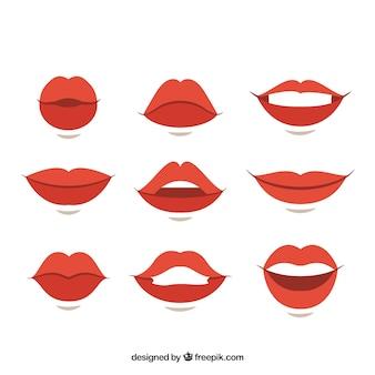 Variedad de gestos con labios femeninos