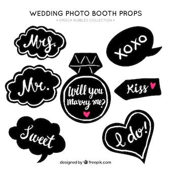 Variedad de globos de diálogo vintage de boda