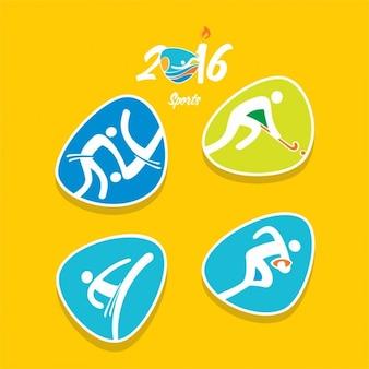 Variedad de iconos abstractos de deportes olímpicos