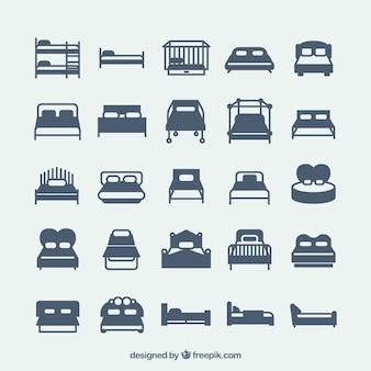 Variedad de iconos de cama