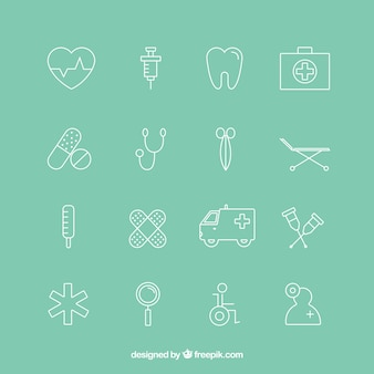 Variedad de iconos de médicos