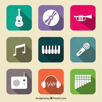 Variedad de iconos de música de colores