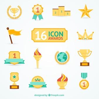Variedad de iconos de premio