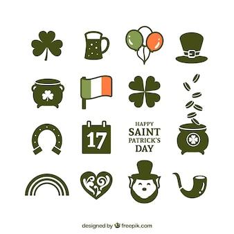 Variedad de iconos del día de San Patricio