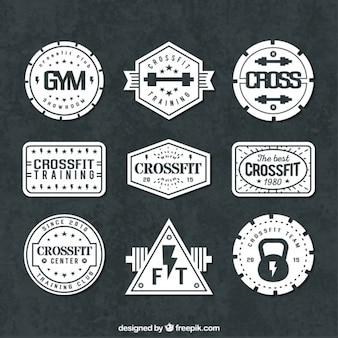 Variedad de insignias de deporte en estilo retro
