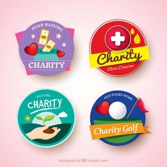 Variedad de insignias de organización benéfica