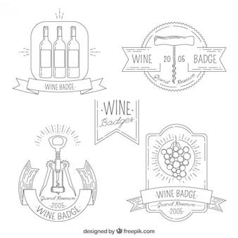 Variedad de insignias de vino dibujadas a mano