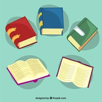 Variedad de libros de colores