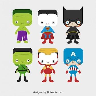 Variedad de lindos personajes de halloween