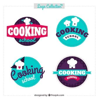 Variedad de logos de cocina en diseño plano
