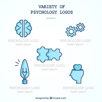 Variedad de logotipos de psicología en tonos azules