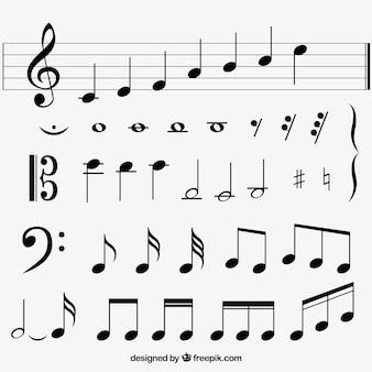 Variedad de notas musicales planas