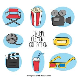 Variedad de objetos de cine dibujados a mano