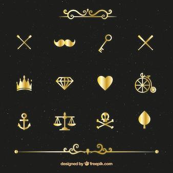 Variedad de paquete de elementos de oro