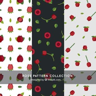 Variedad de patrones con rosas rojas en diseño plano