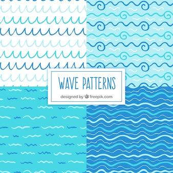Variedad de patrones de olas dibujadas a mano