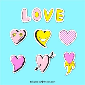 Variedad de pegatinas de amor dibujadas a mano