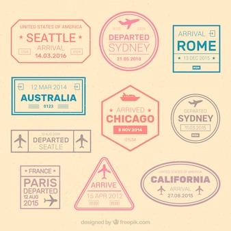 Variedad de pegatinas de ciudades geniales en colores pastel