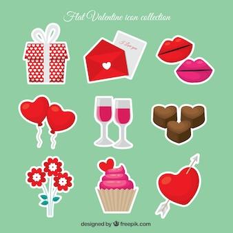 Variedad de pegatinas de dulces y objetos para san valentín